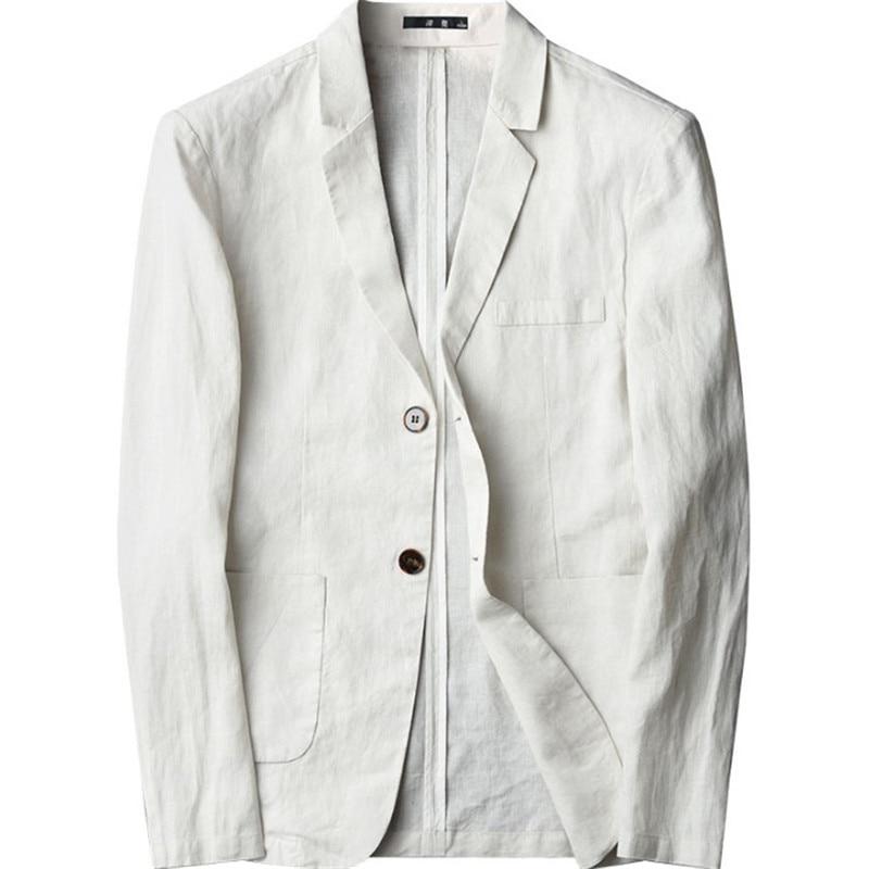Linen Men Blazer Summer Thin Breathable Casual Coat Mens 100% Linen Business Suit Jacket Plus Size 4Xl Blaser Homme Ds50688