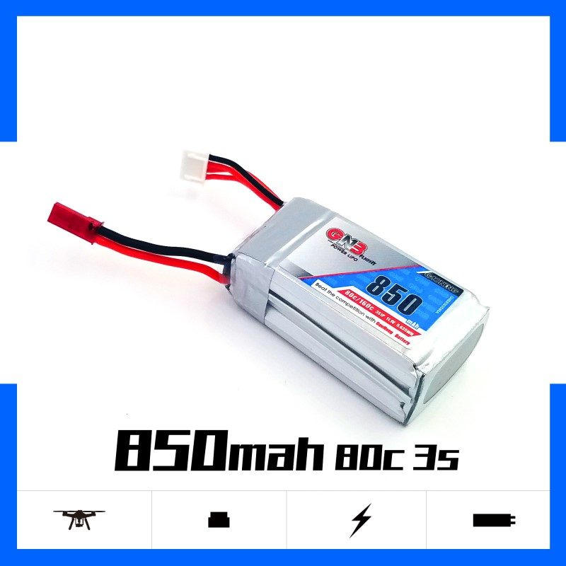 Gaoneng GNB <font><b>850mAh</b></font> <font><b>3S</b></font> 11.1V 80C/160C Lipo battery JST Plug XT30 XT60 Plug for FPV Racing Drone 180CFX 3D Helicopter RC parts image