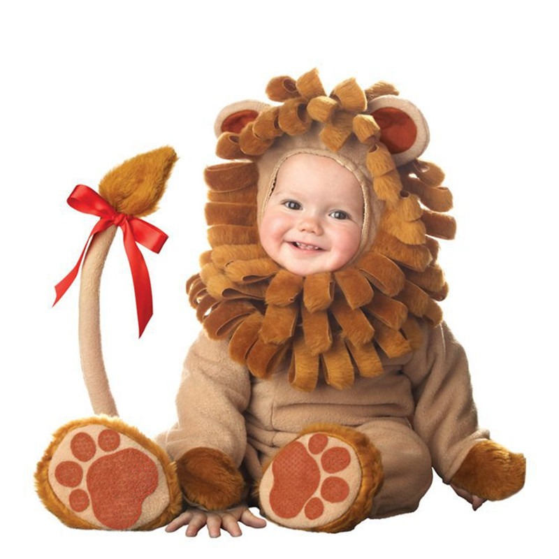 High Quality Baby Halloween Autumn Christmas Romper Tiger Animals Clothes Kids Cosplay Costume Rompers Children Lion Clothing