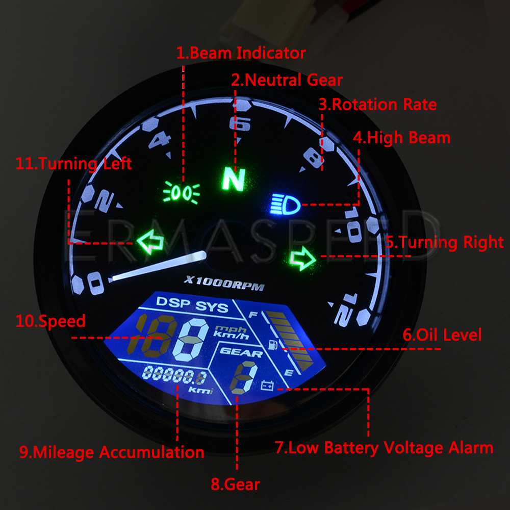 Image 5 - LCD Digital Motorcycle Speedometer Universal Waterproof 12000RPM 8  18V Gear Tachometer Meter Odometer For Yamaha nmax xmax  aeroxInstruments   -