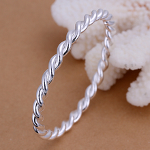 2015 new arrived 925 sterling silver jewelry Torsion simple complete cuff bracelet  bangle for women promotion trendy