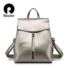 9e91f56c8a38 REALER женский рюкзак из высококачественной сплит-кожи, молодежный женский  школьный рюкзак для девочек подростков