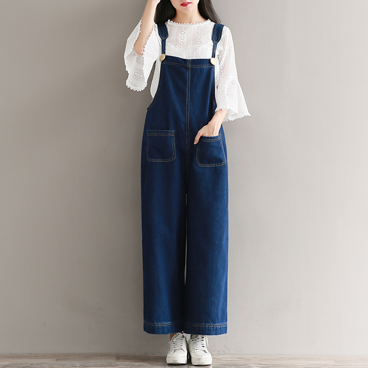 5xl Plus Size Women Denim Jumpsuits Autumn Wide Leg Ankle Straps Bib Pants Female Hip Hop Multi-pocket Jeans Overalls A72701 Jeans Women's Clothing