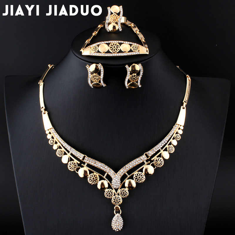 jiayijiaduo Africans Beads Set of Jewelry For Women Earrings Necklace Bracelet Ring Wedding Set Gold-color Crystal wedding sets