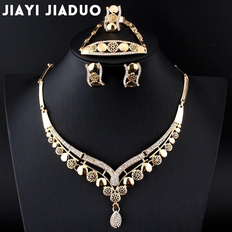 Jiayijiaduo Afrikaner Perlen Set von Schmuck Für Frauen Ohrringe Halskette Armband Ring Hochzeit Set Gold-farbe Kristall hochzeit sets