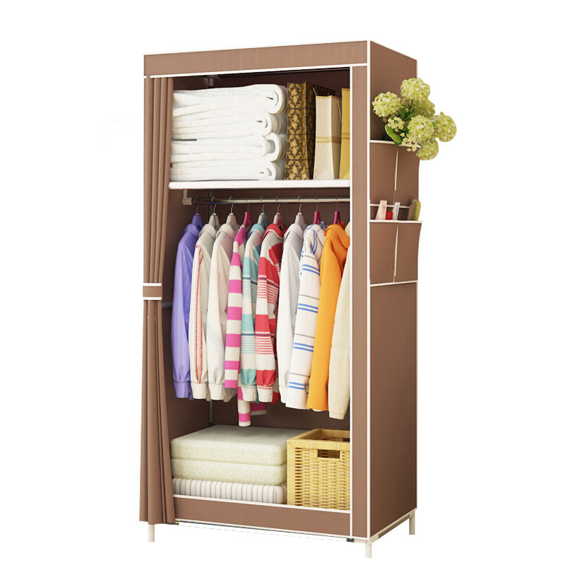 Simple Wardrobe Student Dormitory Single Wardrobe Storage Closet Finishing Storage Cabinet Steel Tube Wardrobe