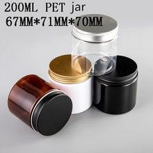 Pot en plastique pour crème cosmétique, 24 pièces/lot, 200G 200ml, couvercle en aluminium, bouchon en plastique PET, récipient d'emballage alimentaire vide