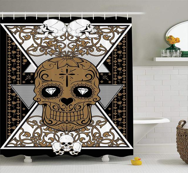 Tattoo Decor Shower Curtain Wise Old And Brave Viking Warrior With His Long White Beard Armour Fabric Bathroom