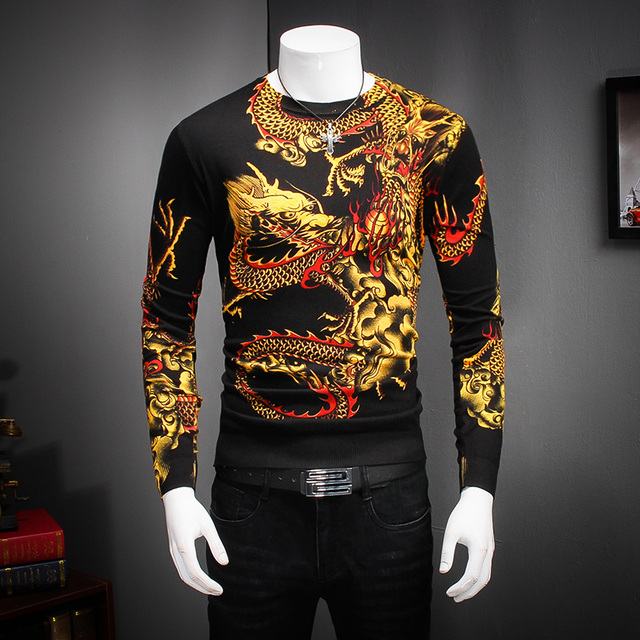 Newest Designs Mens Sweaters Full Dragon Print O-Neck Casual Male Sweater Soft Thin Long Sleeve Slim Fit Knitted Pullovers Men