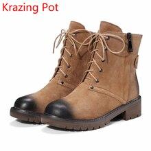 2018 мода свинья замшевые зимние сапоги Кружева на шнуровке в стиле ретро круглый носок высокий каблук красивый разноцветные взлетно-посадочной полосы Cowboy середины икры Ботинки L35