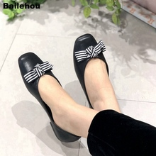 купить Bailehou Women Flats Shoes Slip On Loafers Soft  Women Casual Shoes Butterfly Knot  Flat Ballet Shoes  Flock  Platform Chaussure дешево