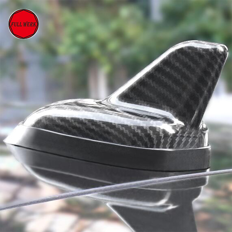 3K Carbon Fiber Car Shark Fin Antenna Universal for Tesla Model S Model X 2014 2017 Car Decoration Aerials Accessories 1 PC