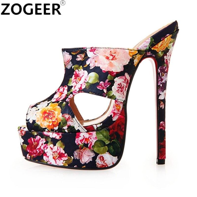 Plus Size 48 2019 New Sexy Flowers Slippers Women Extreme High Heels 16CM Sandals Luxury Platform