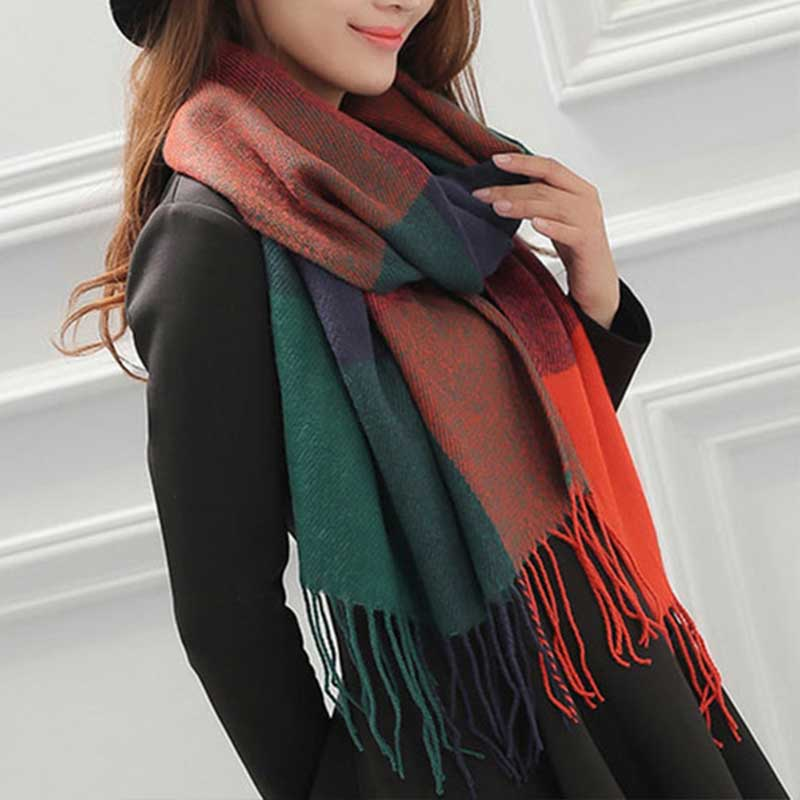 Plaid Tweed Mix Colors Scarves Shawl Winter Warm Ring Loop Scarf fur collar for women Pink