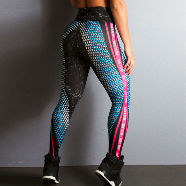 2019 New Sports Printing Style Leggings Put Hip Fold Elastic High Waist Legging Breathable Slim Pants 3
