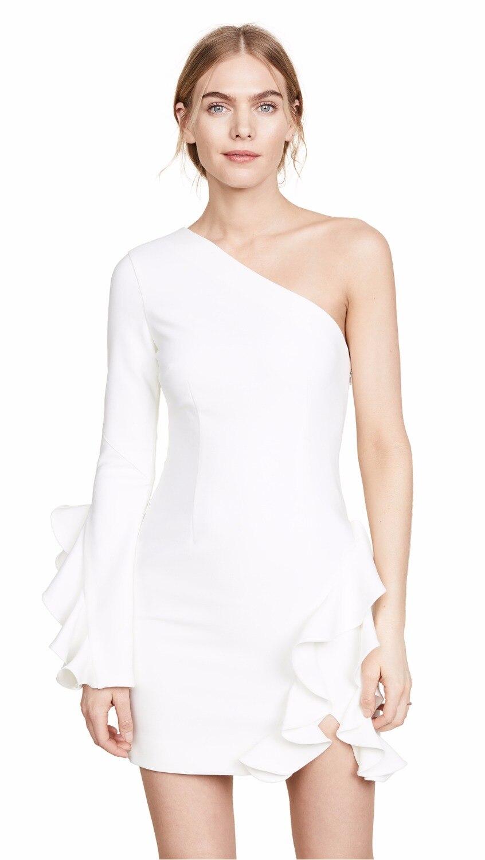 2018 nouvelle mode sexy femmes robe en cascade à volants une épaule moulante rayonne élégant échantillon célébrité partie Mini robe