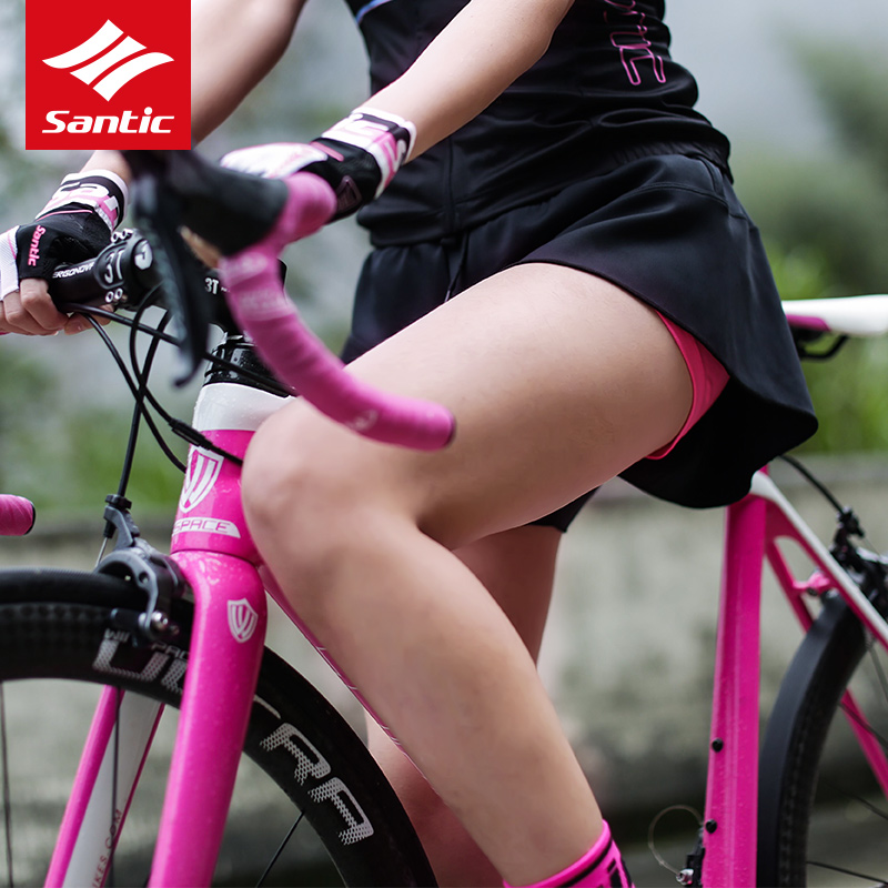 Santic Soft 4D Padded Mini Skirt Sport Wear-Resistant Women Cycling Shorts Silica gel Bicycle Short Pants