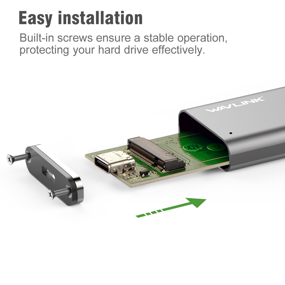USB-C M.2 NGFF SSD SATA Enclosure USB 3.1 Type-c GEN 2 M.2 SSD Enclosure Up To 10Gbps Wavlink For M.2 NGFF SSD Hard Drive B KEY