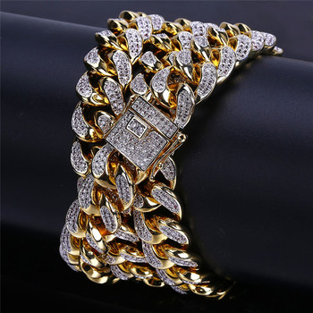 OMYFUN Factory Price Cuban Chain Necklace Gold Filled Link Chain Hip Hop Bling Men czdiamond Iced Pave Necklaces Collar Bijoux