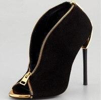 2017 стильная женская обувь bottines черная замша кожа с открытым носком Ботильоны золото металлическая застежка молния Цепи через высокий каблу