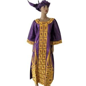 Image 4 - Md 2020 新デザインのコットンアフリカ服バザンricheための女性の伝統的な刺繍ドレスターバンアフリカ女性セット