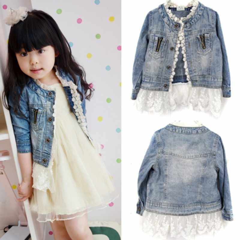6d9bab20f ... 2-7Y Baby Girls Lace Long-sleeve Solid Cowboy Jacket Denim Top Button  Children's ...