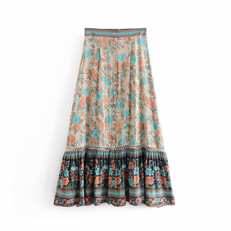 f4cf10dccb Women Floral Print Lace Hollow Out Boho Chic Long skirt Summer Single  breasted Maxi Bohemian Casual Beach skirts Female C435