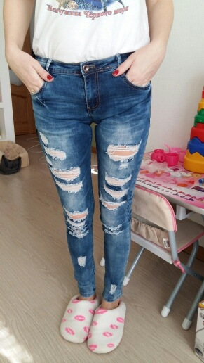 2017 Hot Blue Fashion Boyfriend Jeans for Women Mid Waist Elastic Cotton Casual Ripped Jeans Hole