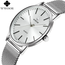 Fashion WWOOR Watches Men Stainless Steel Mesh Strap Ultra Thin Dial Wristwatch Man Waterproof Analog Clock relogio masculino