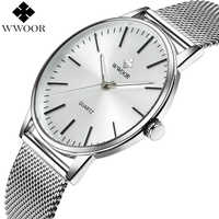 Fashion WWOOR Watches Men Stainless Steel Mesh Strap Ultra Thin Dial Wristwatch Man Waterproof Analog Clock relogio masculino