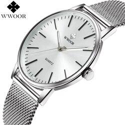 Moda wwoor relógios masculino pulseira de malha aço inoxidável ultra fino dial relógio de pulso homem analógico à prova dwaterproof água relogio masculino