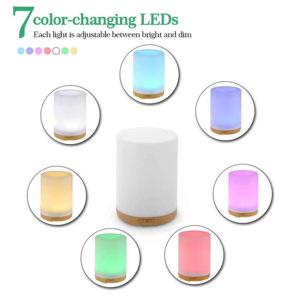 200ML & 100ML 7 Colors Changing LED Lights Aroma Essential Oil Diffuser Ultrasonic Air Humidifier Portable Mist Maker With Separate Mist Light Switches