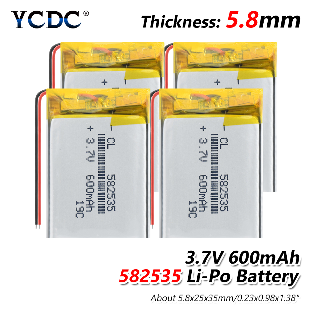 <font><b>3.7V</b></font> <font><b>600mAh</b></font> LI-ION <font><b>BATTERY</b></font> 582535 1/2/4PCS RECHARGEABLE Li-polymer <font><b>Batteries</b></font> FOR MP3 MP4 MP5 BLUETOOTH HEADSET GPS image