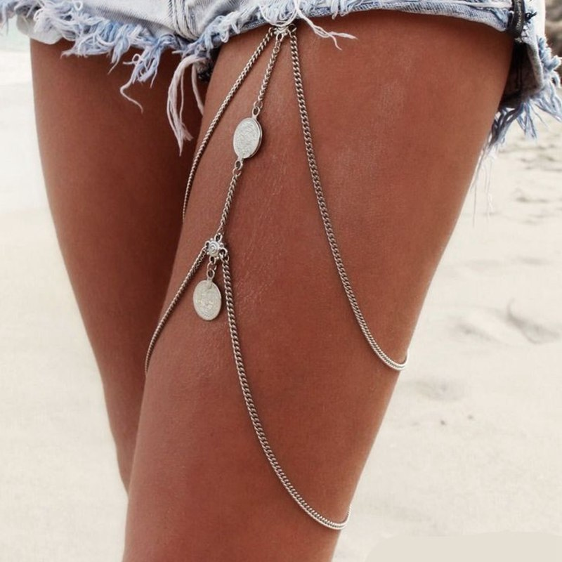 2018 New Sexy Stretchy 2 Tier Layer Leg Chain Vintage Antique Silver Coin Thigh Chain Bohemia Bikini Beach Harness Jewelry