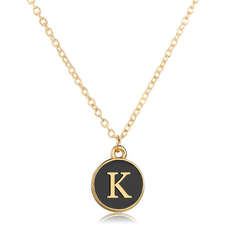 Tiny Gold Initial Necklace Gold Letter black enamel Necklace Initials Name Necklaces Pendant for Women Girls Best Birthday Gifts