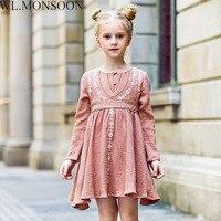 W L MONSOON Girls Autumn Dress Children 2017 Brand Princess Dress With Flower Embroidery Vestidos Christmas