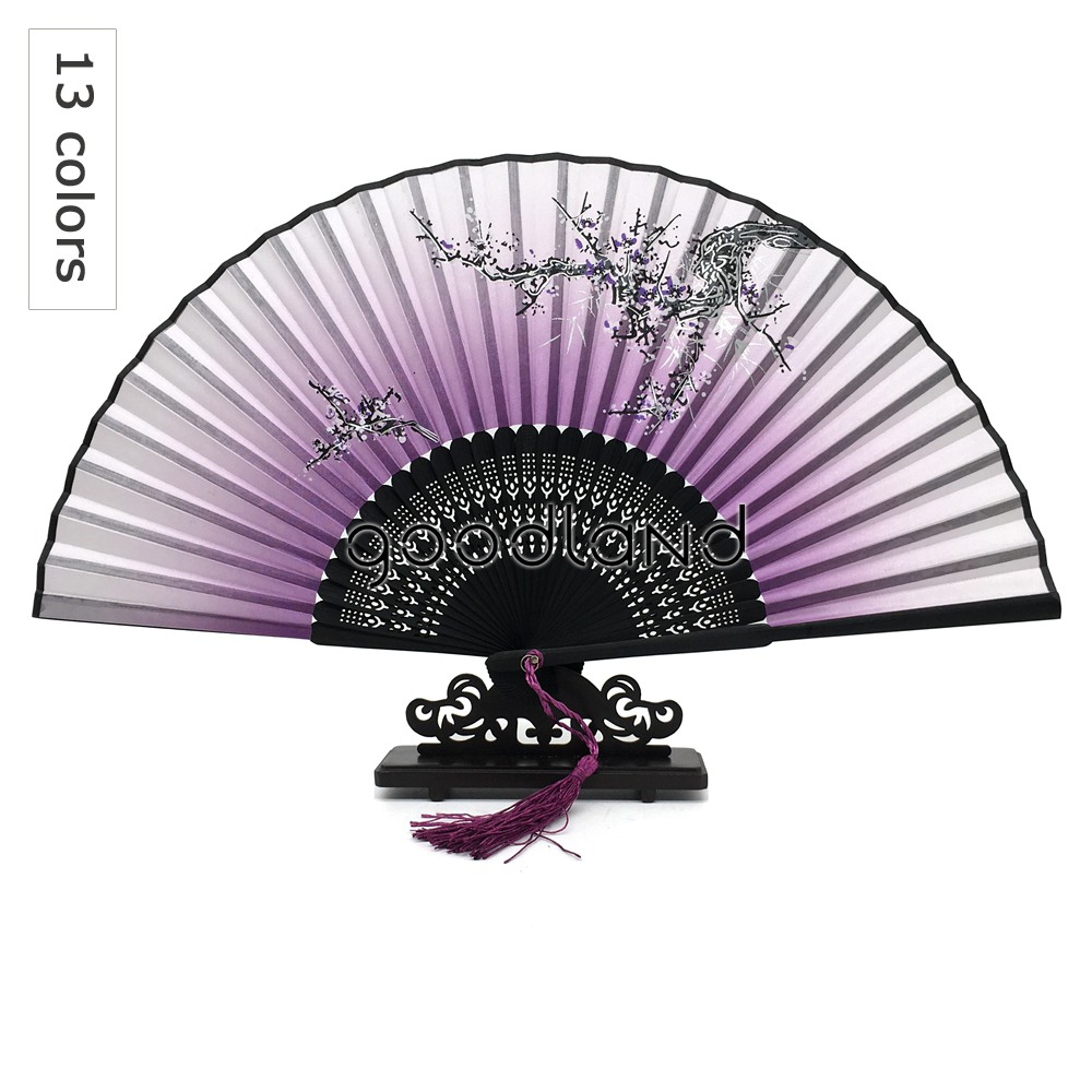 Wholesale Free Drop Shipping 100pcs lot Floral Pattern Bamboo Folding Fan Wedding Decor Deco Mariage Decoracion