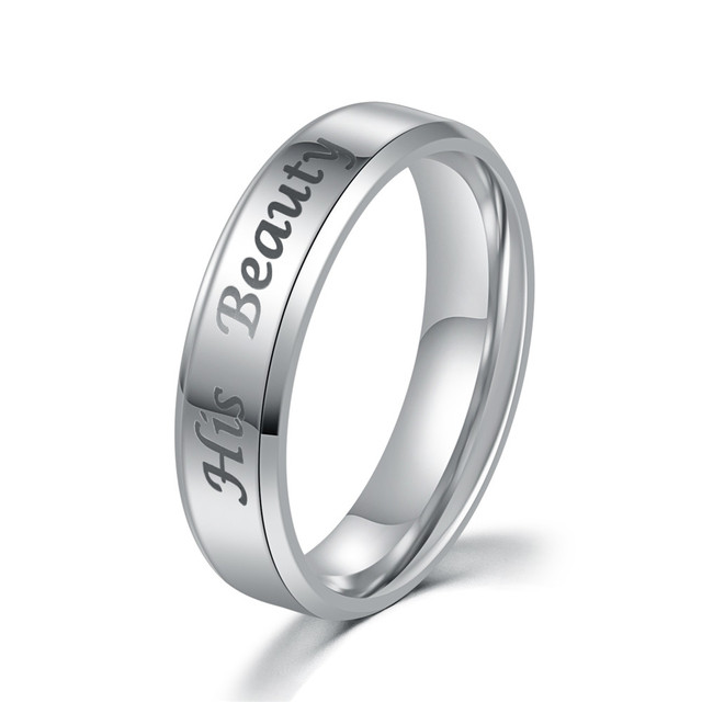 A Set of two rings His Beauty and Her Beast stainless steel couple rings