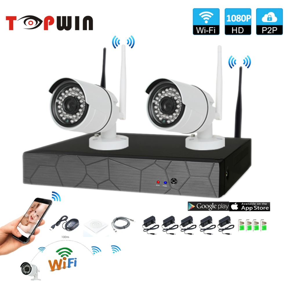 Plug and Play 2CH 1080P HD Wireless NVR Kit P2P 1080P Indoor Outdoor IR Night Vision Sec ...