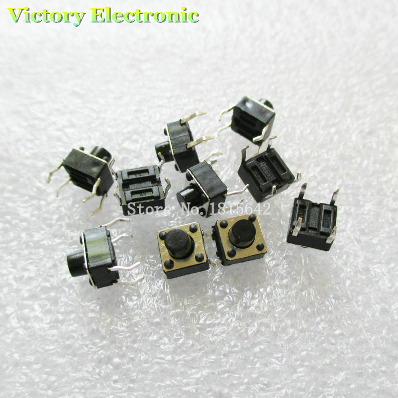 New 50PCS/Lot Tactile Push Button Switch Momentary Tact 6x6x6mm DIP Through-Hole 4pin Wholesale Electronic