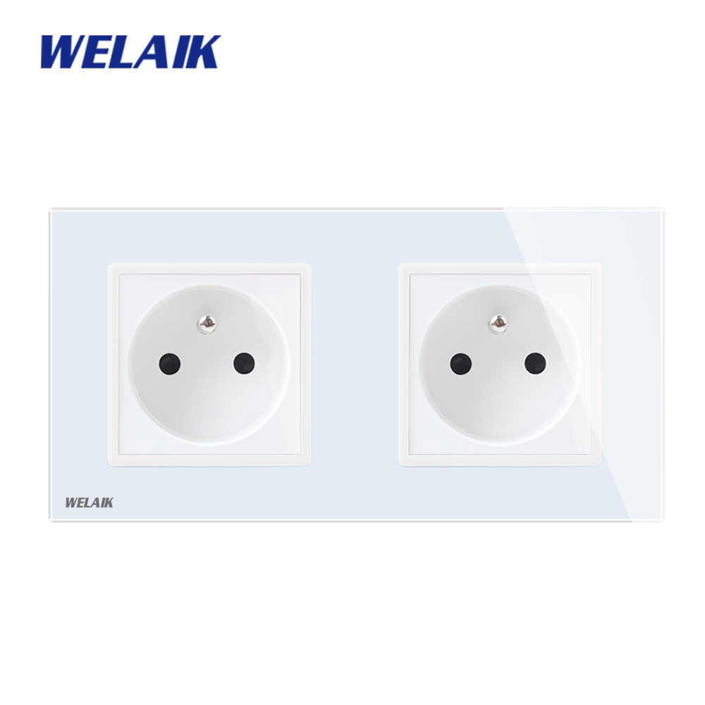 WELAIK  Glass-Panel EU Wall-Socket Wall-Outlet French-Standard Power-Socket AC110~250V A28F8FW/B