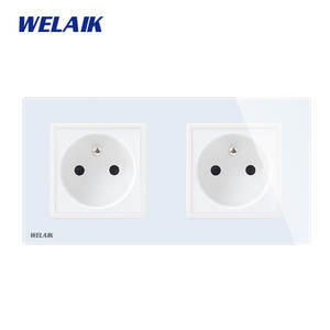 Image 1 - WELAIK Manufacturer 2Frame French Standard Power Socket Tempering Glass Panel EU Wall Socket Wall Outlet 16A AC110~250V A28F8FW