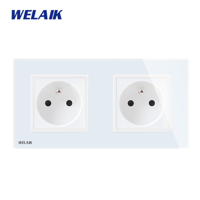 WELAIK Manufacturer 2Frame French Standard Power Socket Tempering Glass Panel EU Wall Socket Wall Outlet 16A AC110~250V A28F8FW