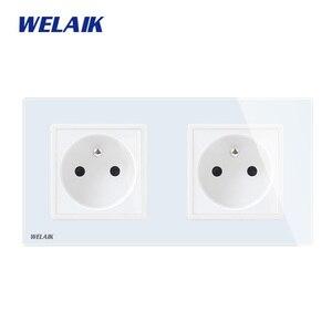 Image 1 - Welaik メーカー 2 フレームフランス語 標準電源ソケット焼戻し ガラスパネルeu壁ソケット壁アウトレット 16A AC110 〜 250v A28F8FW