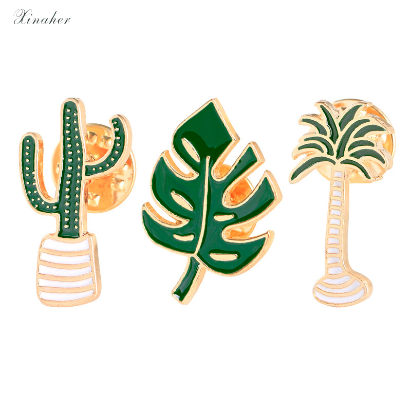 Aspiring 1pc Cartoon Tree Cactus Leaf Metal Badge Brooch Button Pins Denim Jacket Pin Jewelry Decoration Badge For Clothes Lapel Pins Complete Range Of Articles Badges