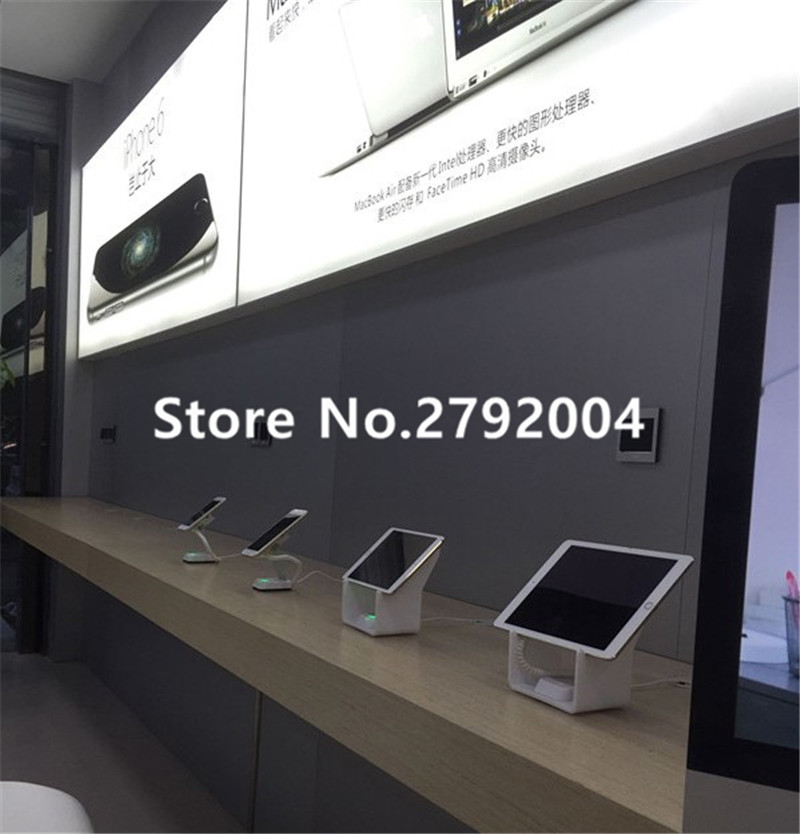 10pcs/lot Tablet security alarm Ipad display stand anti theft holder charging apple mount devices for retail phone shop sales wholesale price mobile phone anti theft alarm display stand with charging for exhibition