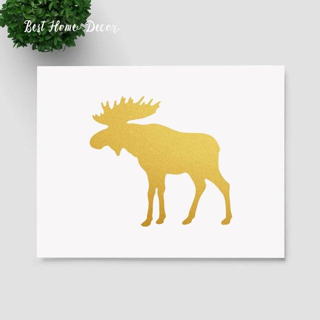 Gold Foil Wall Art aliexpress : buy gold foil moose art print moose antlers wall