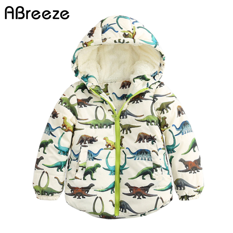 Abreeze 2017 Winter kids down & parkas casual dinosaur style coats for boys 2-8T warm boys hooded jackets outerwear with zipper casual 2016 winter jacket for boys warm jackets coats outerwears thick hooded down cotton jackets for children boy winter parkas