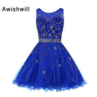 Custom made Royal Blue Cocktail Dress Beaded Keyhole Back Tulle Short Formal Party Dress Gala Vestidos Coctel 2019