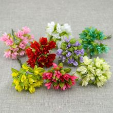12 unids/lote flor Artificial de cereza de seda sintética flor diy material para guirnalda flor para muñeca de novia decoración floral para bodas